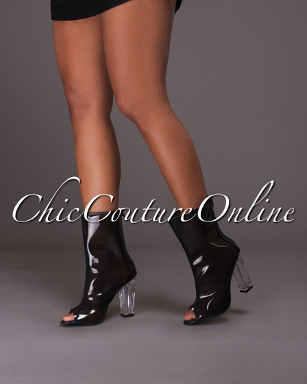 Clarity Black Perspex Open Toe Booties