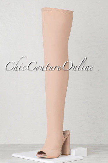 Chiffino Nude Open Heel Over-The-Knee Boots