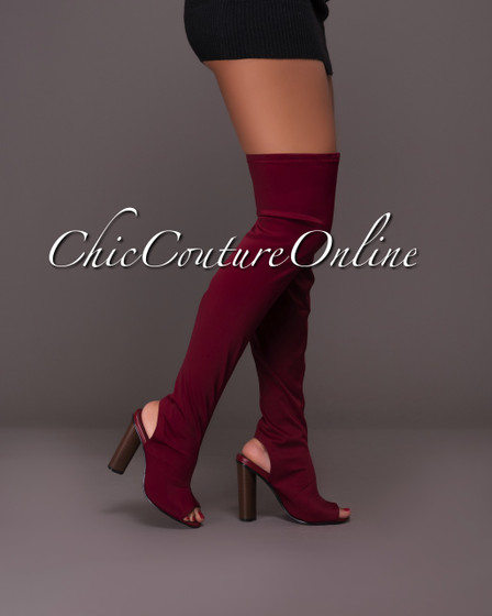 Chiffino Wine Red Open Heel Over-The-Knee Boots
