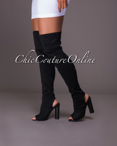 Chiffino Black Open Heel Over-The-Knee Boots