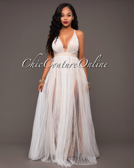 Paloma Off-White Nude Tulle Maxi Dress