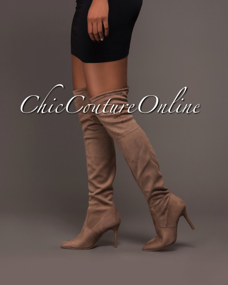 Alexia Taupe Faux Suede Over-The-Knee Boots