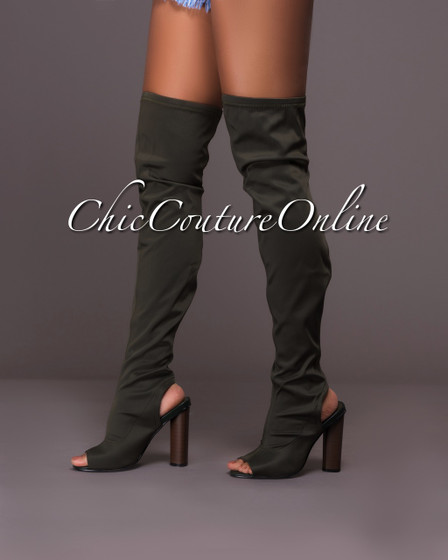 Chiffon Olive Green Open Heel Over-The-Knee Boots