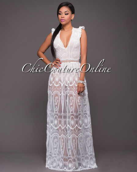 Olivia Off-White Lace Nude Illusion Maxi Dress