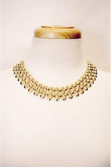 Bella Golden Multi Round Short Statement Necklace