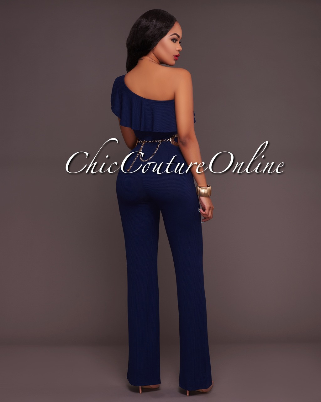 5e88ded28cd1 Adriel Navy-Blue Ribbed One Shoulder Jumpsuit. Your Price   30.00 (You save   15.00). Image 1. Larger   More Photos