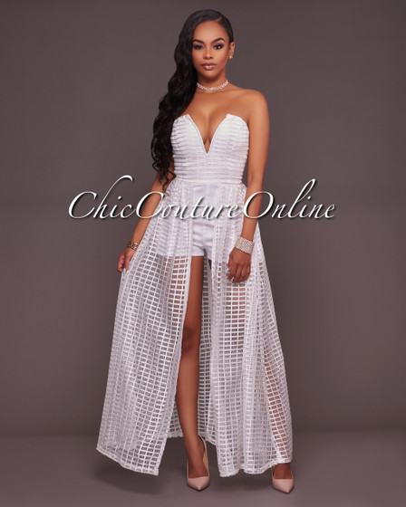 Benita Off-White Textured Mesh Romper Maxi Dress