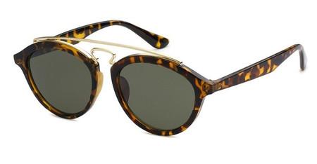 TBAR - Green Lens Tortoise Brigde Bar Round Sunglasses