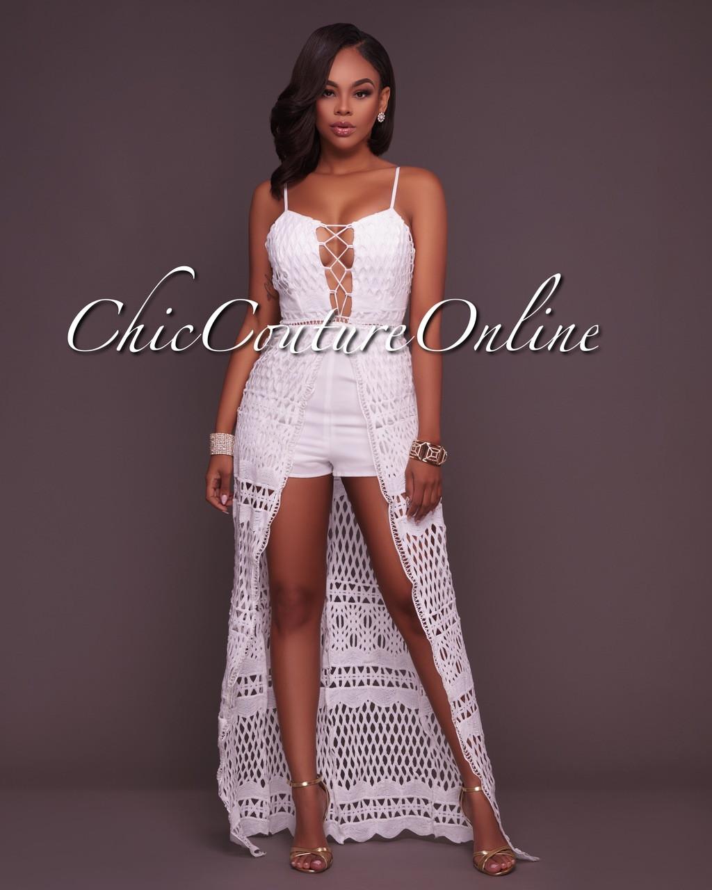 0e149e76b96 Yarah Off-White Crochet Romper Maxi Dress