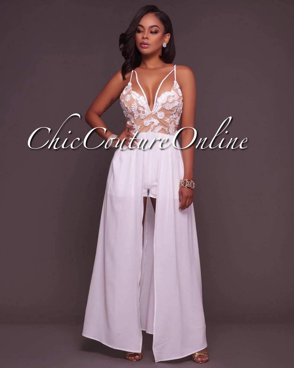 75d51dede655 Smyrna Off-White Nude Romper Maxi Dress