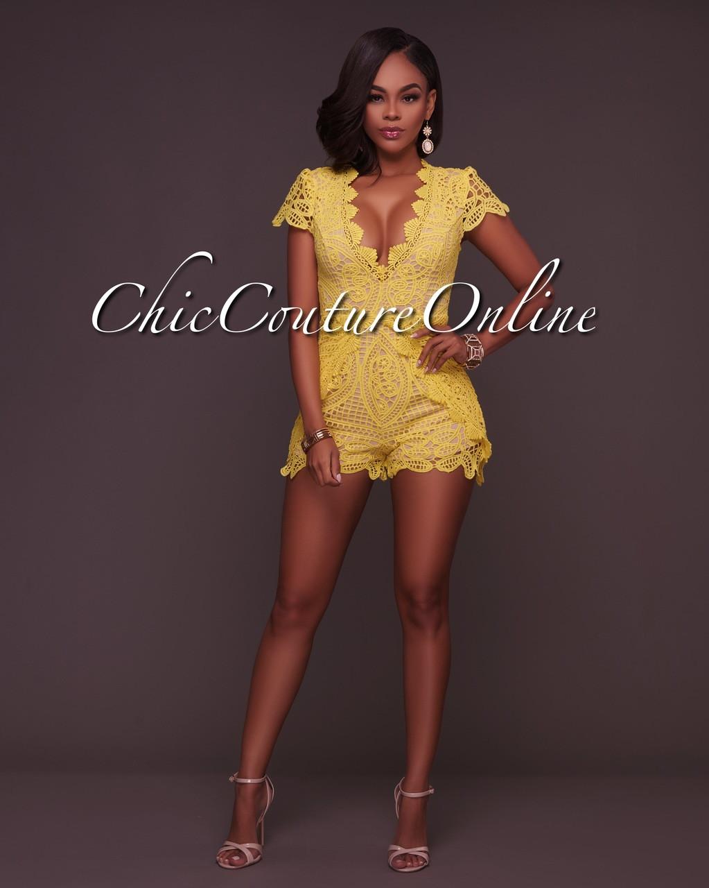 edb6d1c31e Saylor Yellow Crochet Lace Nude Illusion Romper