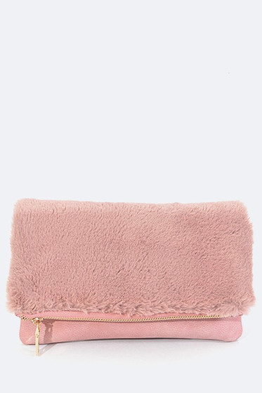 Barby Pink Plush Flap Folding Clutch