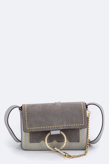 Faye Grey Studded Crossbody Bag