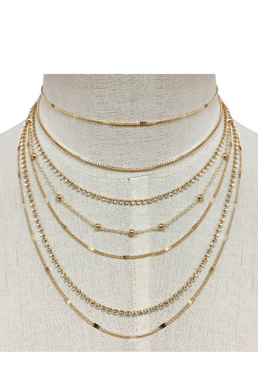 Sine Multi Layer Gold Chain Choker Necklace
