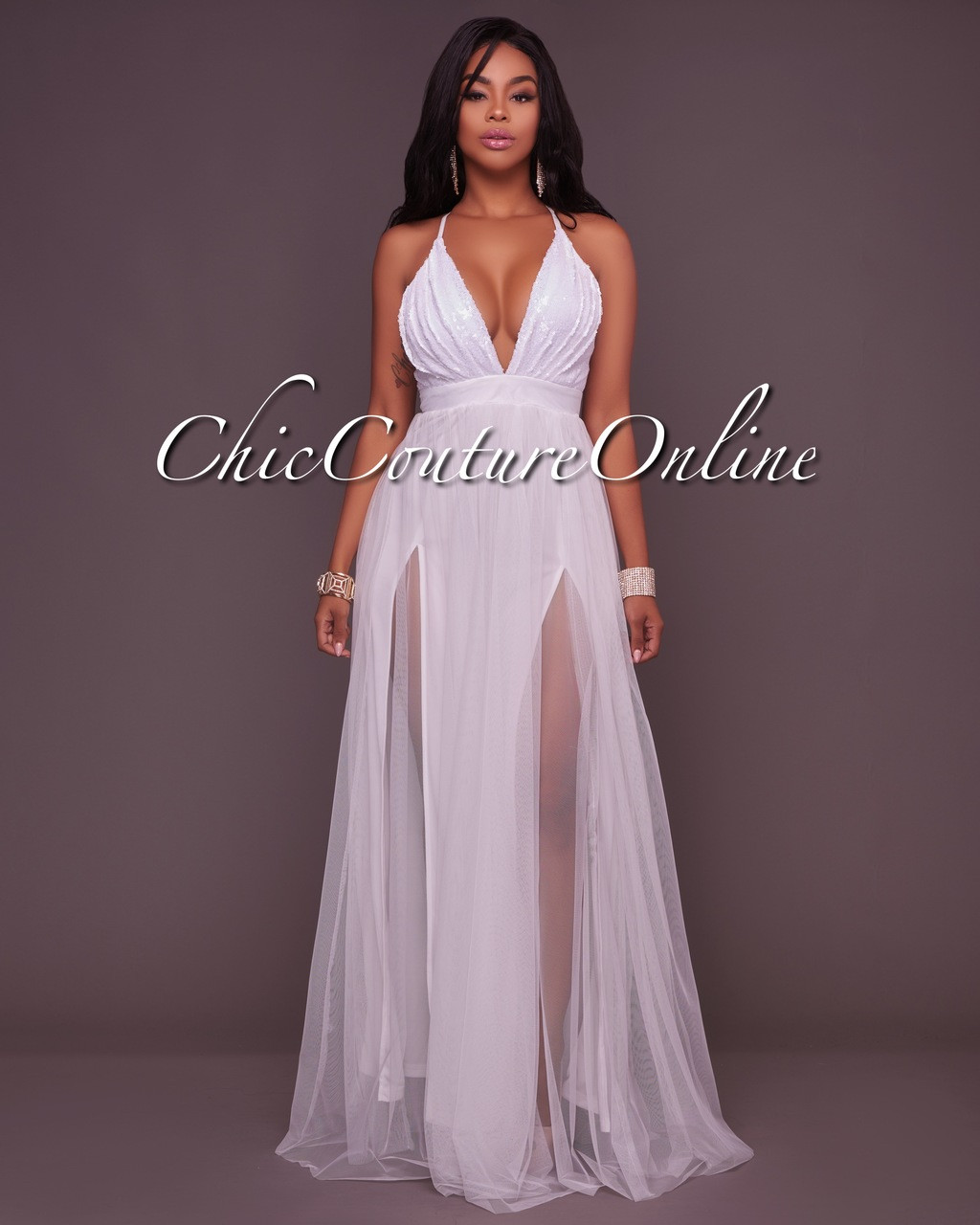 8d2a27cce7 Paloma White Tulle Sequins Top Maxi Dress