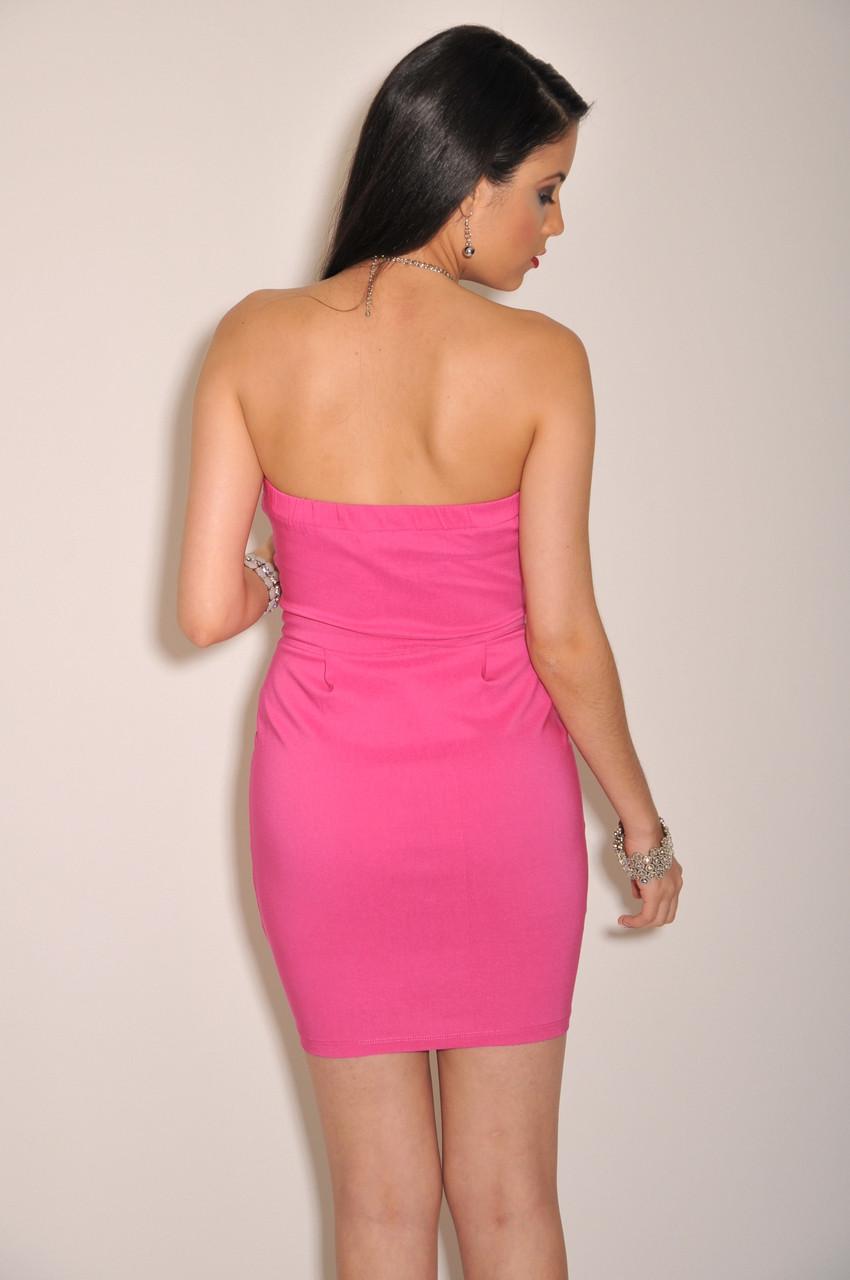 Hot Pink Strapless Dresses