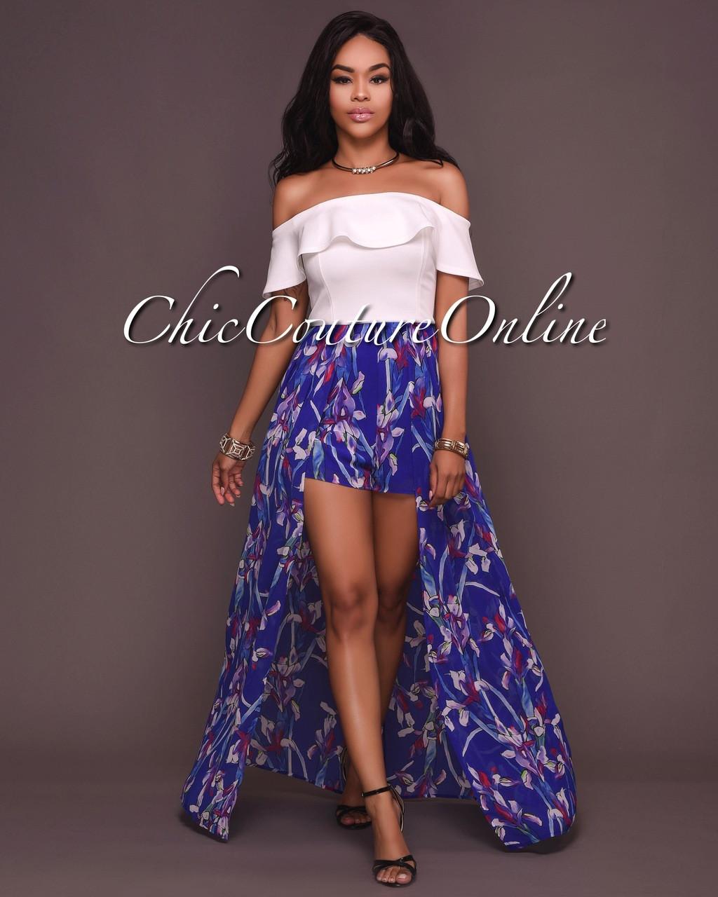 b40cb81ca5d4 Melika White Blue Floral Print Romper Maxi Dress
