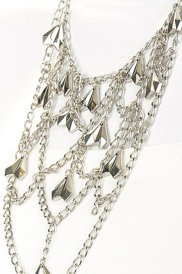 Long Silver multi strand Layered Statement Necklace Set
