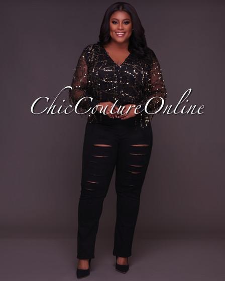 Delilah CURVACEAOUS Black Gold Sequins Mesh Bodysuit