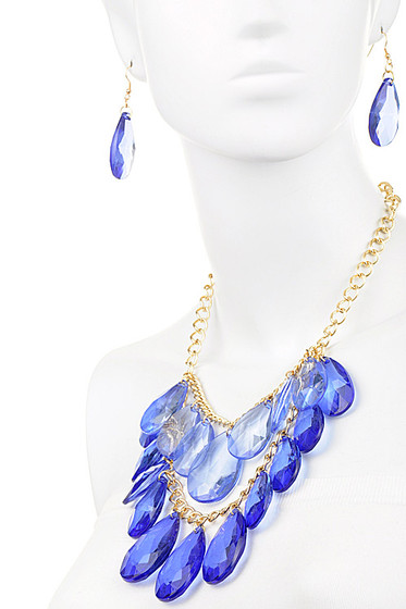 Blue Stones Statement Necklace Chain Link Set