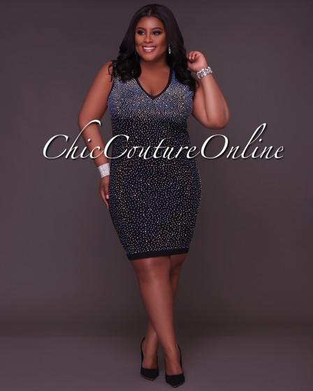 Jolene CURVACEOUS Black Iridescent Stones Open Back Dress