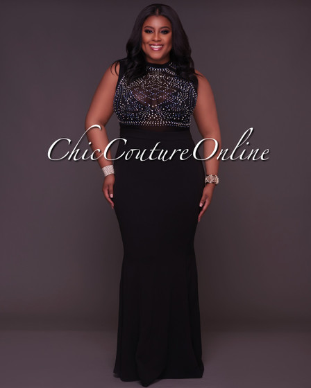 Cassidy CURVACEOUS Black Embellished Gown