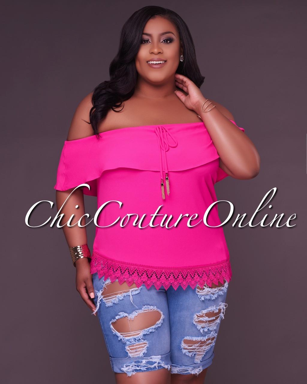 0020cf6be08ef Ebonie Hot Pink Off-The-Shoulder CURVACEOUS Top