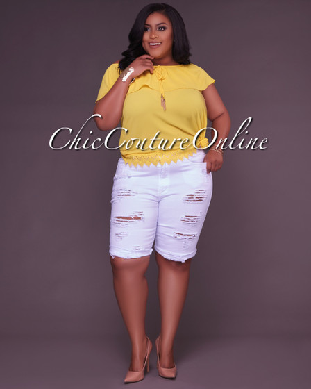 Hazel White Denim Destroyed CURVACEOUS Bermuda Shorts