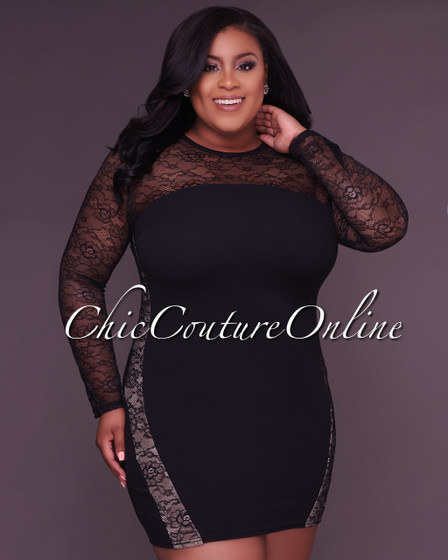 Taisha Black Lace Long Sleeves CURVACEOUS Dress