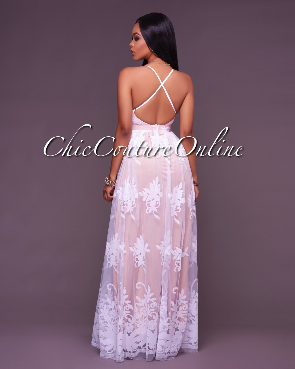 57e3489fdbe Amabel Off-White Floral Print Nude Tulle Maxi Dress. Your Price   50.00  (You save  25.00). Image 1. Larger   More Photos