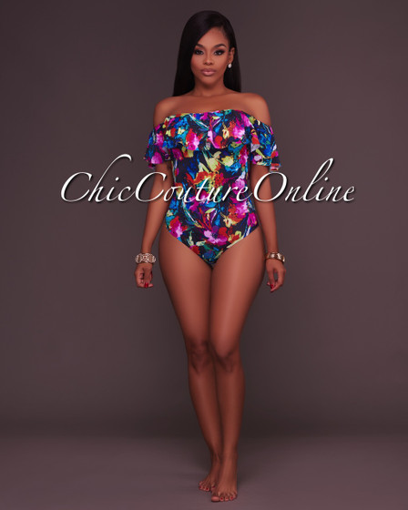 Scarlett Vibrant Floral Off-The-Shoulder Padded Swimsuit