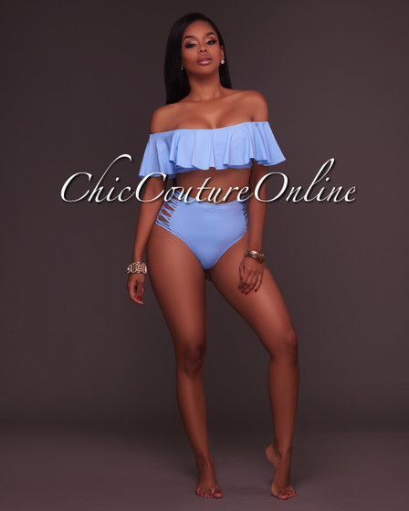Ohara Blue Ruffle Top and Strappy High Waist Bottom Two Piece Swimsuit
