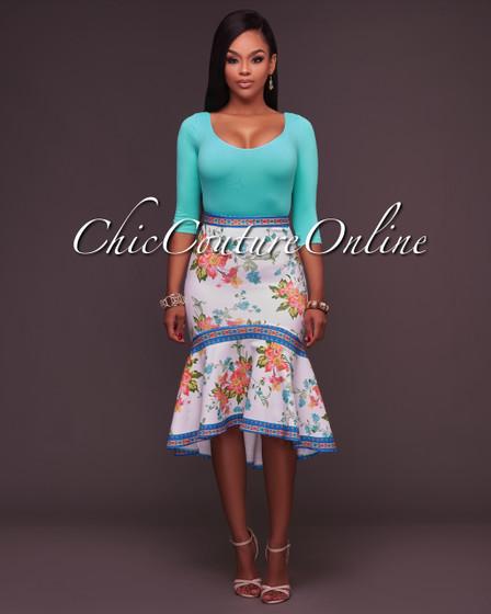 Adalynn Floral Midi Ruffle Hi-Low Hem Skirt