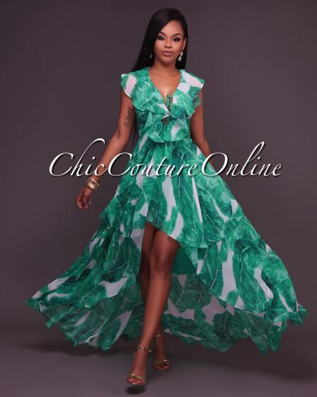 Orla Green Leaf Print Ruffle Dress