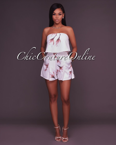 Renee Off-White Floral Print Strapless Romper