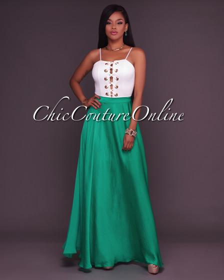 Tiffany Emerald Green Slit Luxe Maxi Skirt