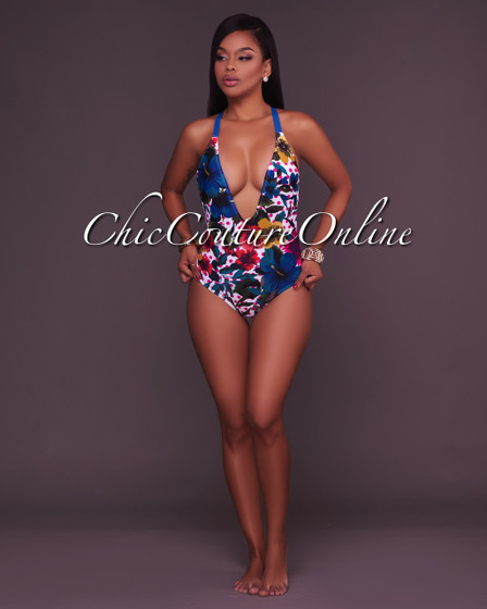 Satine Floral Macrame Back One Piece Swimsuit
