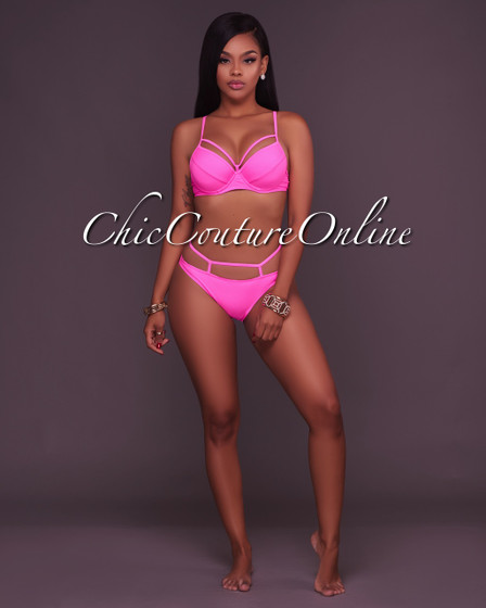 Zaria Hot Pink Strappy Design 2 Piece Swimsuit