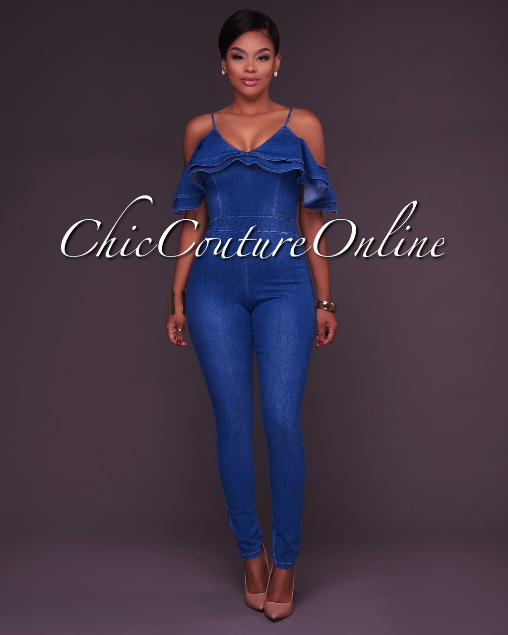 5c5f7fd508c Taina Denim Ruffle Fitted Jumpsuit