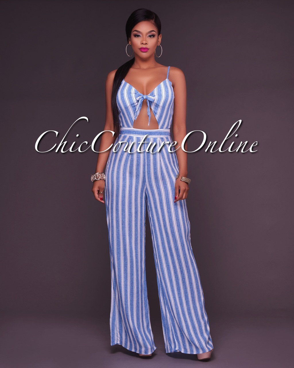 8e6d58c644aa Tasia Striped Light Chambray Tie Front Jumpsuit