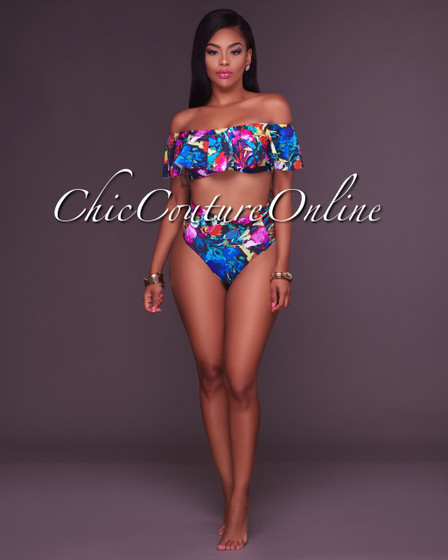 Judy Black Floral Ruffle Top and Strappy High Waist Two Piece Swimsuit