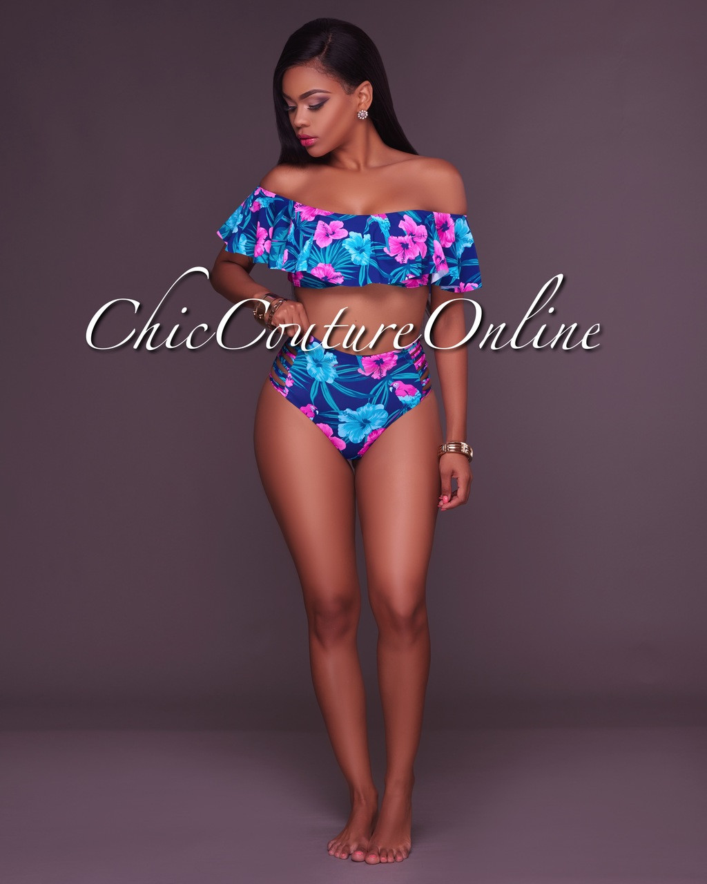 9f0ecfcb92284 ... Ruffle Top and Strappy High Waist Two Piece Swimsuit. Your Price    35.00 (You save  15.00). Image 1