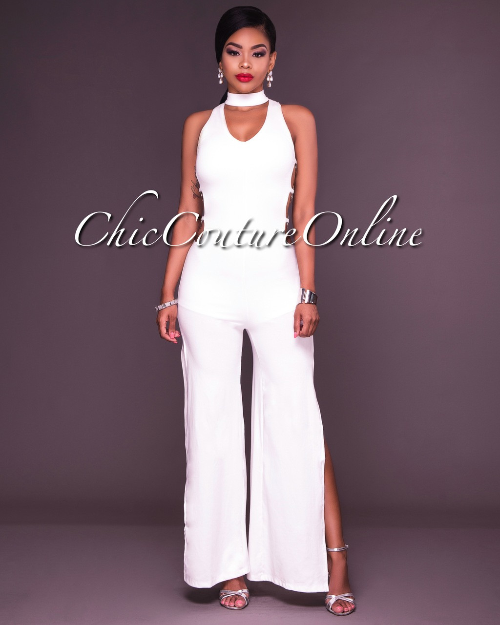 3006f9f51e7 Dionne White Choker Silver Rings Jumpsuit. Your Price   35.00 (You save   15.00). Image 1