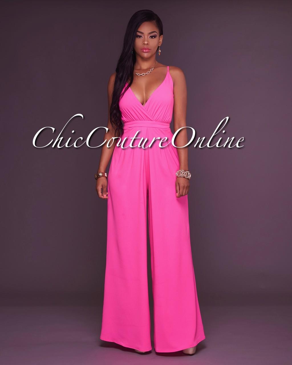 648f9335b36 Rosea Hot Pink V Neck Jumpsuit