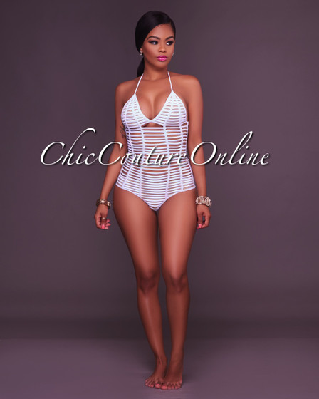 Keela Off-White Nude Strappy Design Swimsuit