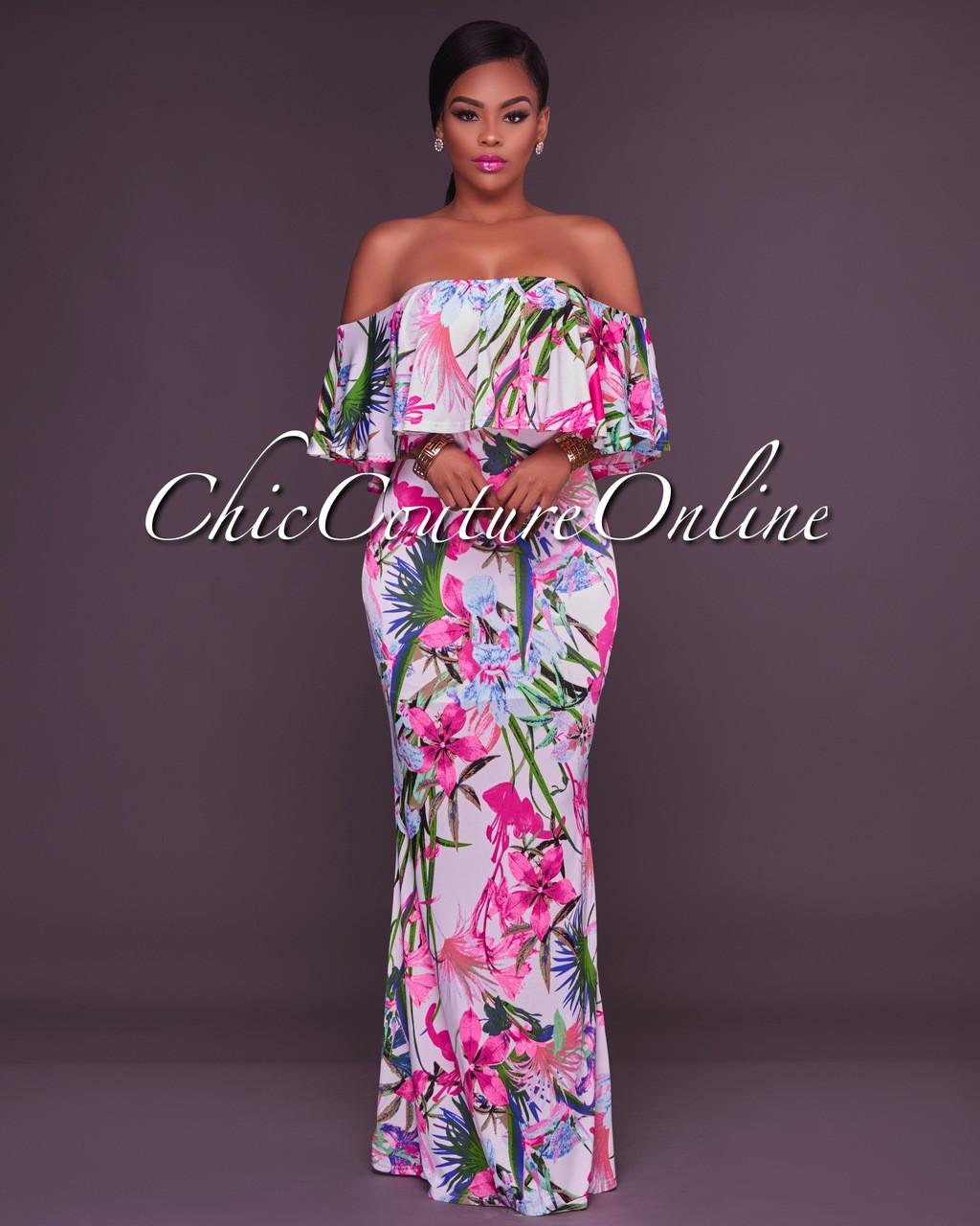 8b24a3f74b2 Freida White Floral Print Off The Shoulder Maxi Dress
