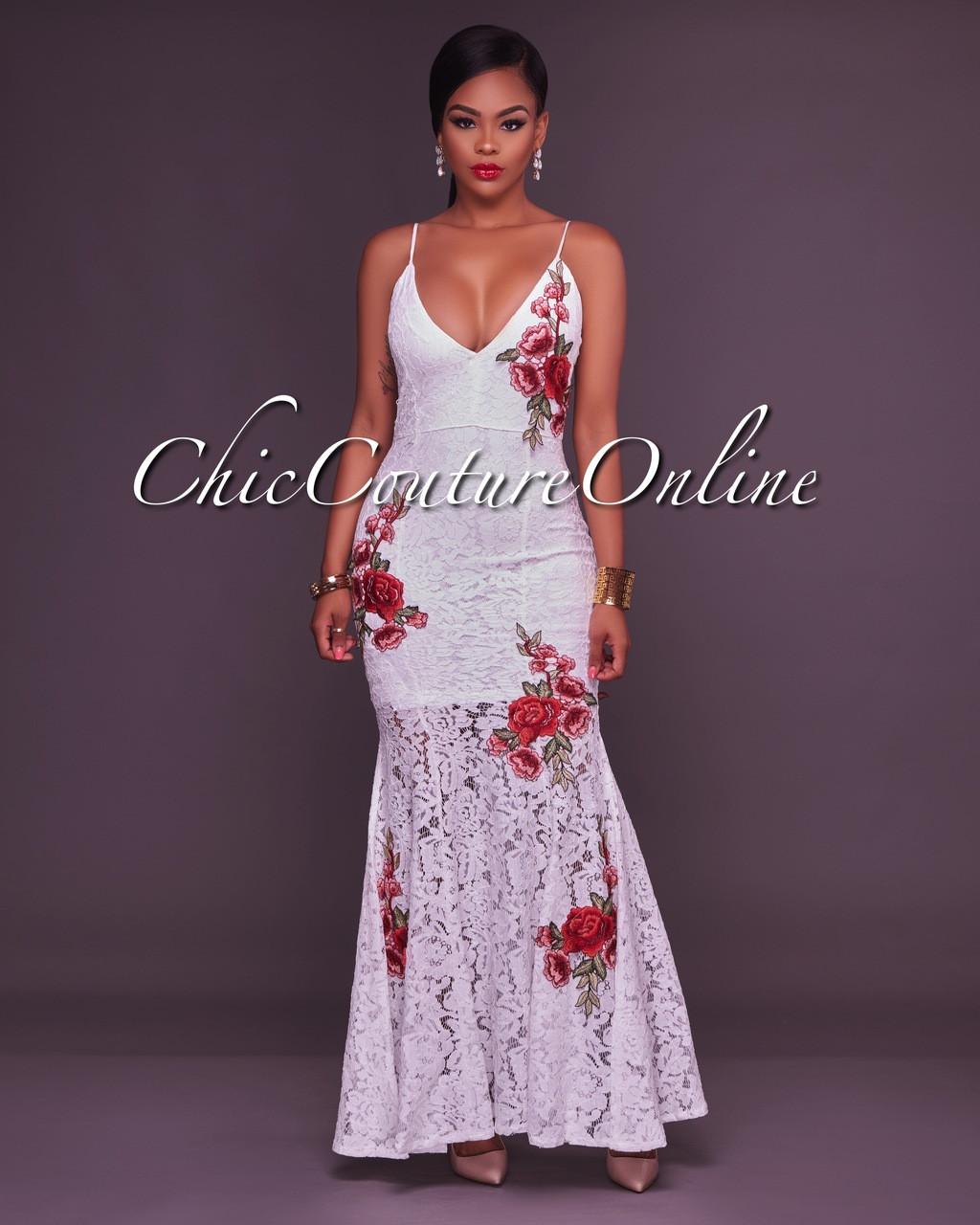 f7661e6c4d51e Queta White Lace Dress Red Floral Embroidery Mermaid Dress