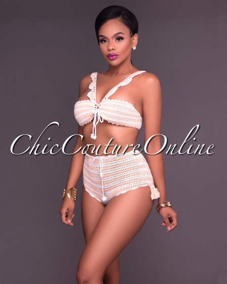 Rayna Peaches N Cream Striped Crochet Two Piece Swimsuit