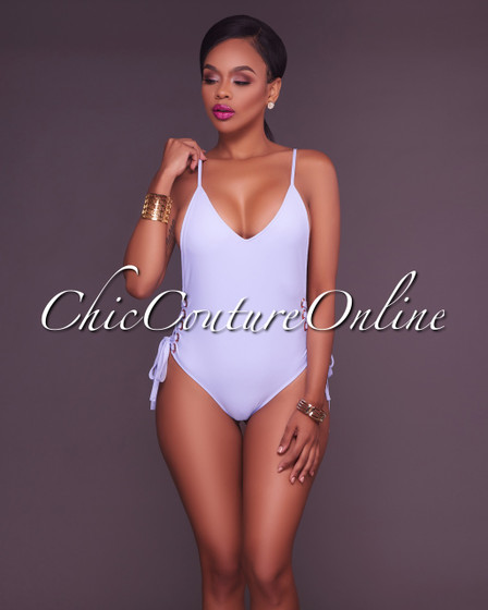 Reanna Periwinkle Side Lace Up One Piece Swimsuit