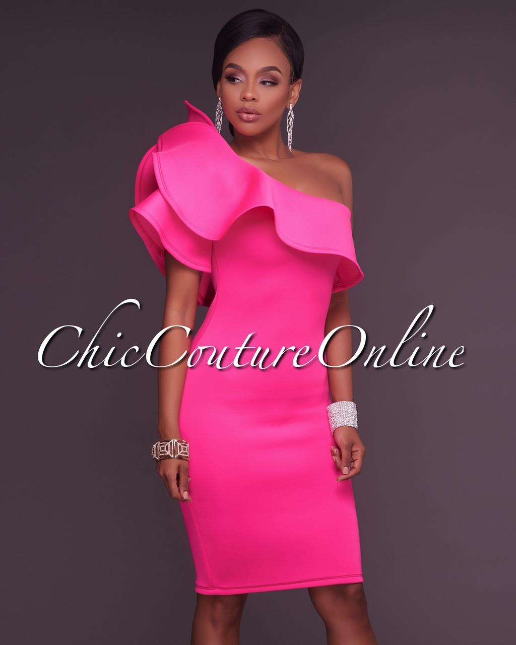 1b88fc13 River Hot Pink One Ruffle Sleeve Midi Dress